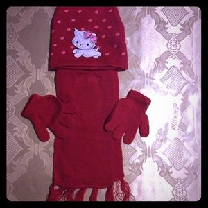 Other - Kids red beanie gloves & scarf set